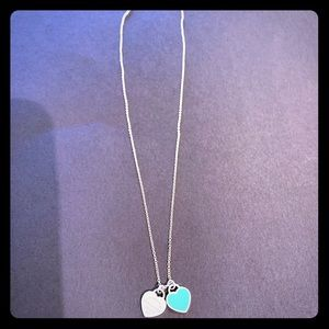 Tiffany & Co blue and silver, small tag necklace